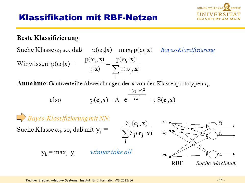 Normierung der Variablen Lösungeinheitliche Transformation aller Variablen durch Skalierung S, Drehung D, Verschiebung V Rüdiger Brause: Adaptive Syst
