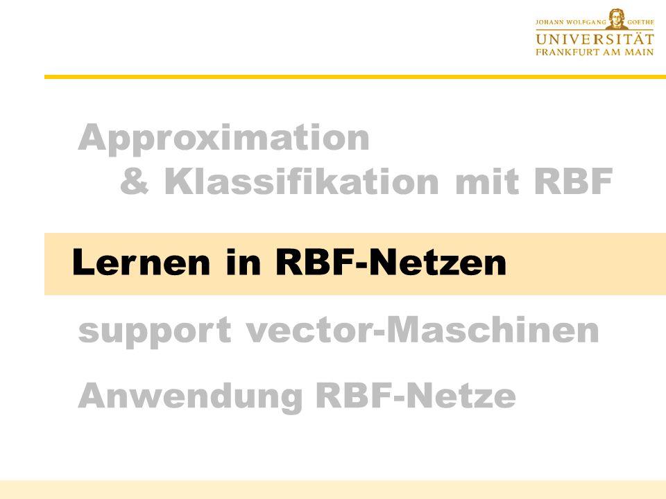 Klassifikation mit winner-take-all Rüdiger Brause: Adaptive Systeme, Institut für Informatik, WS 2013/14 - 16 - Zwei-Schichten-Netzwerk Suche Klasse k