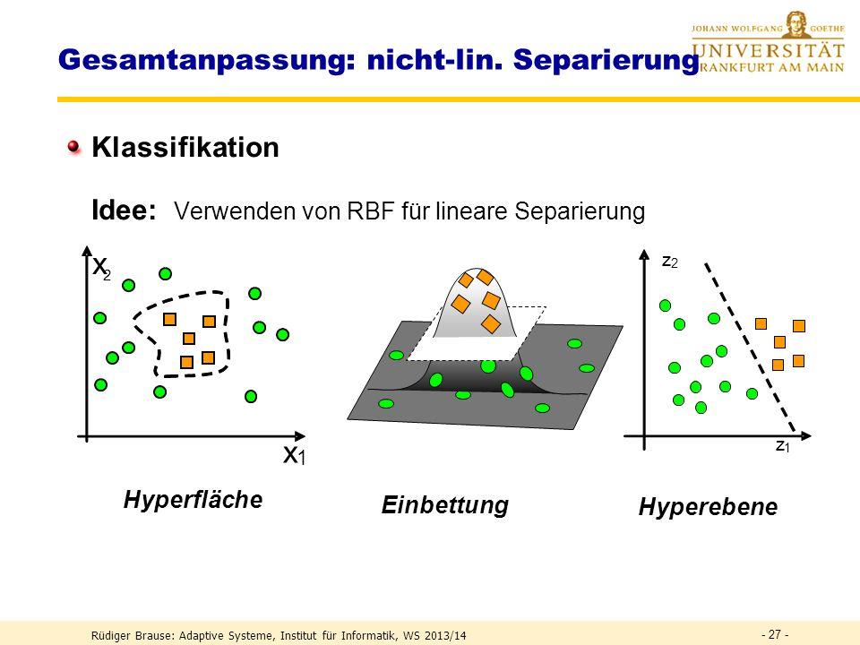 Gesamtanpassung Lernen mit Backpropagation Zielfunktion R(M) = (f (x,M) –F (x) ) 2 = r (x,M) 1.Schicht: Lernen der RBF-Koeffizienten M ij durch Gradie
