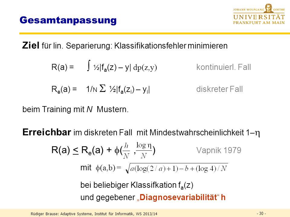 Gesamtanpassung: Einbettung Mercers theorem Sei eine Funktion K(x,y) gegeben. Erfüllt sie die Bedingung > 0 für alle Funktionen g mit <, so wird sie p
