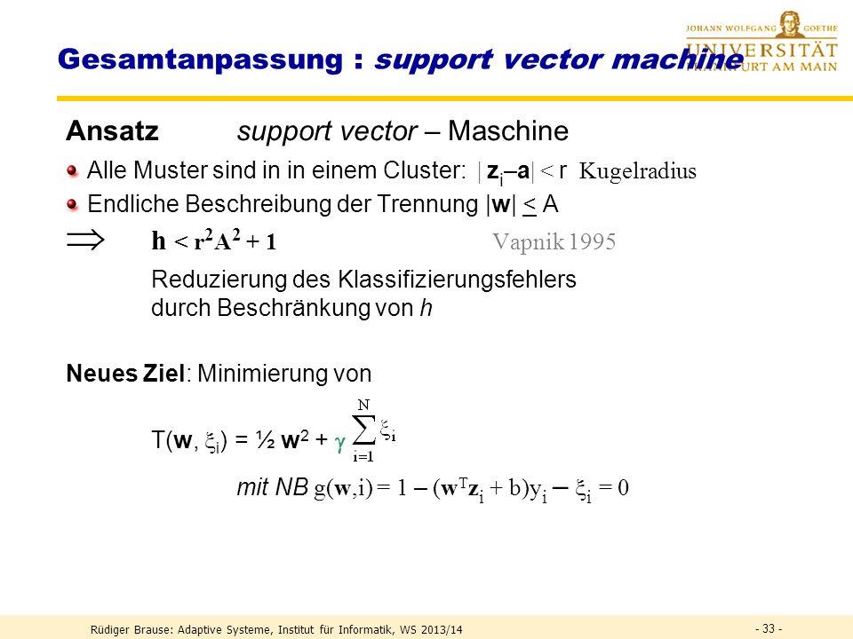 Gesamtanpassung: support vector machine Forderung für lin. Separierung Lege die Hyperebene so, dass sie maximalen Abstand zu allen Grenzpunkten hat |