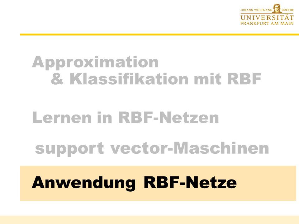Gesamtanpassung : support vector machine Ergebnis: Klassifizierung mit f(x) = sgn(w T z + b) = sgn( K(c i, x) +b ) 2-Schicht-RBF-Netz Rüdiger Brause: