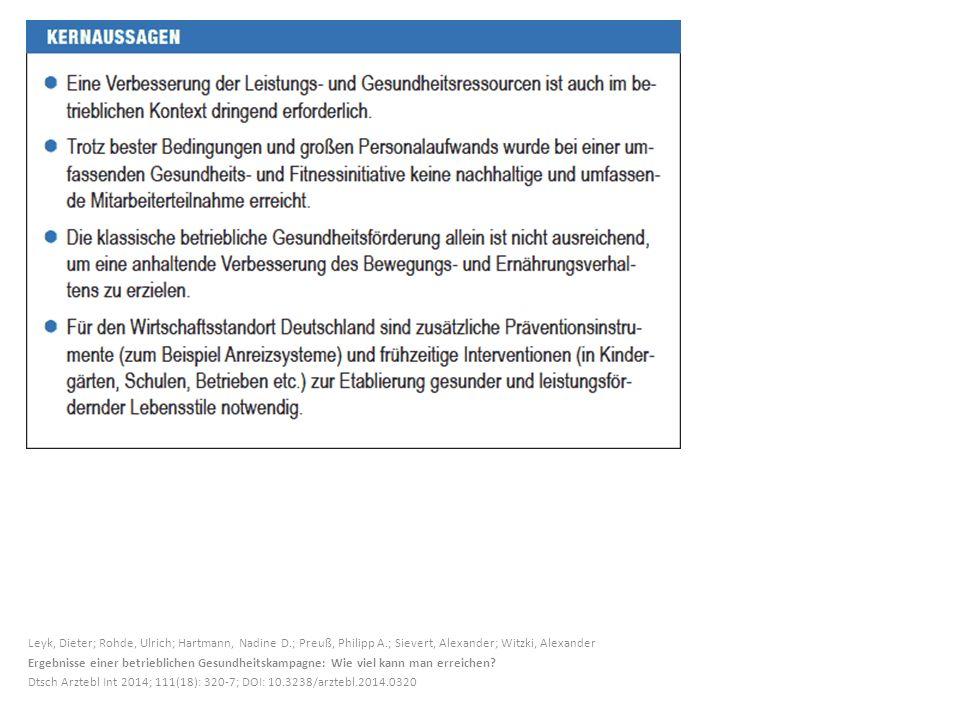 Leyk, Dieter; Rohde, Ulrich; Hartmann, Nadine D.; Preuß, Philipp A.; Sievert, Alexander; Witzki, Alexander Ergebnisse einer betrieblichen Gesundheitsk