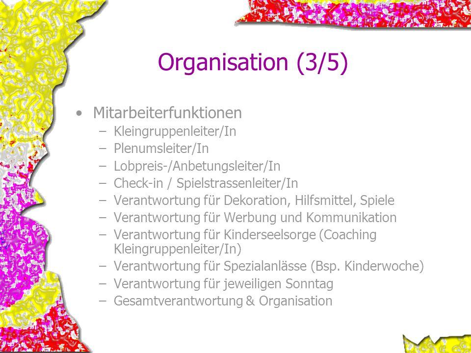 Organisation (3/5) Mitarbeiterfunktionen –Kleingruppenleiter/In –Plenumsleiter/In –Lobpreis-/Anbetungsleiter/In –Check-in / Spielstrassenleiter/In –Ve