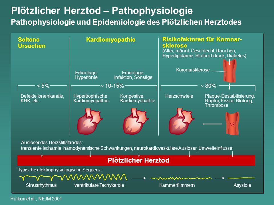 Bevölkerungsgruppe Allgemeinbevölkerung Personen mit erhöhtem kardiovaskulären Risiko Patienten nach Koronarereignis Patienten mit EF <35% Herzinsuffizienz Patienten nach AMI, niedriger EF, ventrikuläre Tachykardie Patienten nach Herzstillstand außerhalb eines Krankenhauses 0 51015 20 25 30 0 200,000300,000 100,000 Inzidenz des Plötzlichen Herztodes (%) Anzahl Fälle Plötzlicher Herztod in den USA/Jahr Huikuri et al., NEJM 2001 Plötzlicher Herztod – Inzidenz nach Risikogruppen