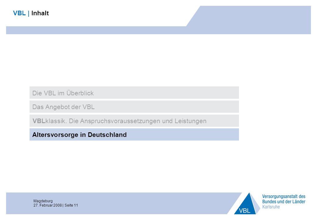 Magdeburg 27. Februar 2008 | Seite 11 VBL | Inhalt Das Angebot der VBL VBLklassik. Die Anspruchsvoraussetzungen und Leistungen Altersvorsorge in Deuts