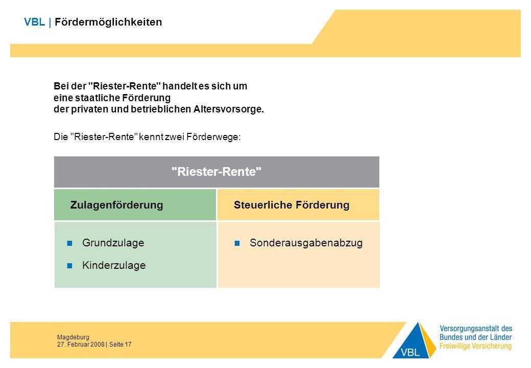 Magdeburg 27. Februar 2008 | Seite 17 VBL | Fördermöglichkeiten Bei der