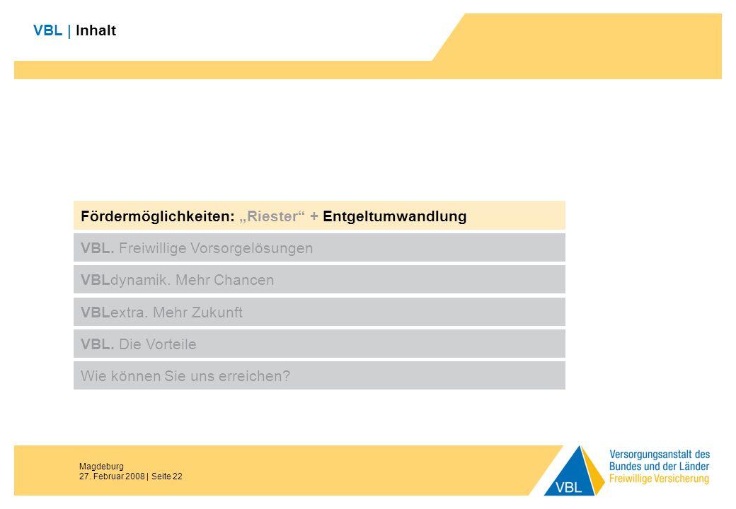 Magdeburg 27. Februar 2008 | Seite 22 VBL | Inhalt Fördermöglichkeiten: Riester + Entgeltumwandlung VBL. Freiwillige Vorsorgelösungen VBLdynamik. Mehr