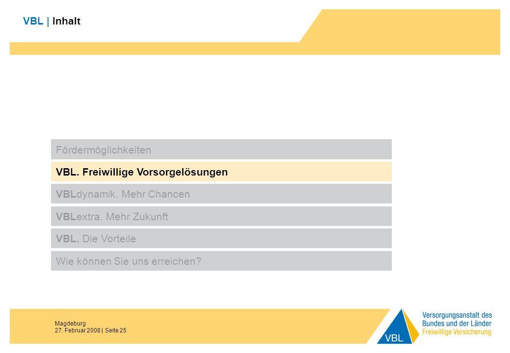 Magdeburg 27. Februar 2008 | Seite 25 VBL | Inhalt Fördermöglichkeiten VBL. Freiwillige Vorsorgelösungen VBLdynamik. Mehr Chancen VBL. Die Vorteile Wi