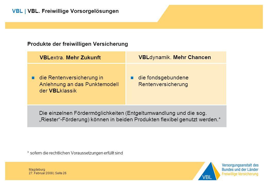 Magdeburg 27. Februar 2008 | Seite 26 VBL | VBL. Freiwillige Vorsorgelösungen Produkte der freiwilligen Versicherung * sofern die rechtlichen Vorausse