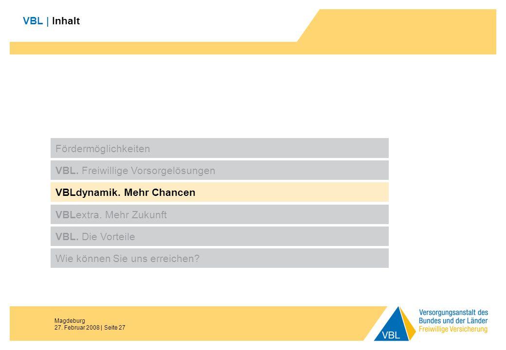 Magdeburg 27. Februar 2008 | Seite 27 VBL | Inhalt Fördermöglichkeiten VBL. Freiwillige Vorsorgelösungen VBLdynamik. Mehr Chancen VBL. Die Vorteile Wi