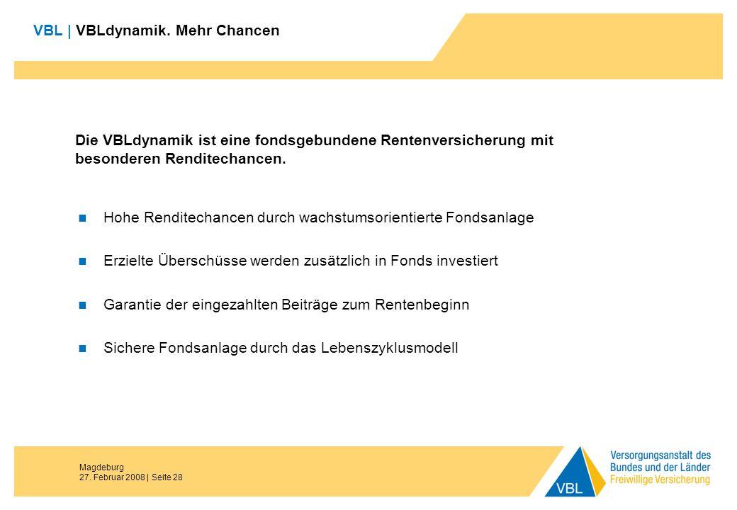 Magdeburg 27. Februar 2008 | Seite 28 Die VBLdynamik ist eine fondsgebundene Rentenversicherung mit besonderen Renditechancen. Hohe Renditechancen dur