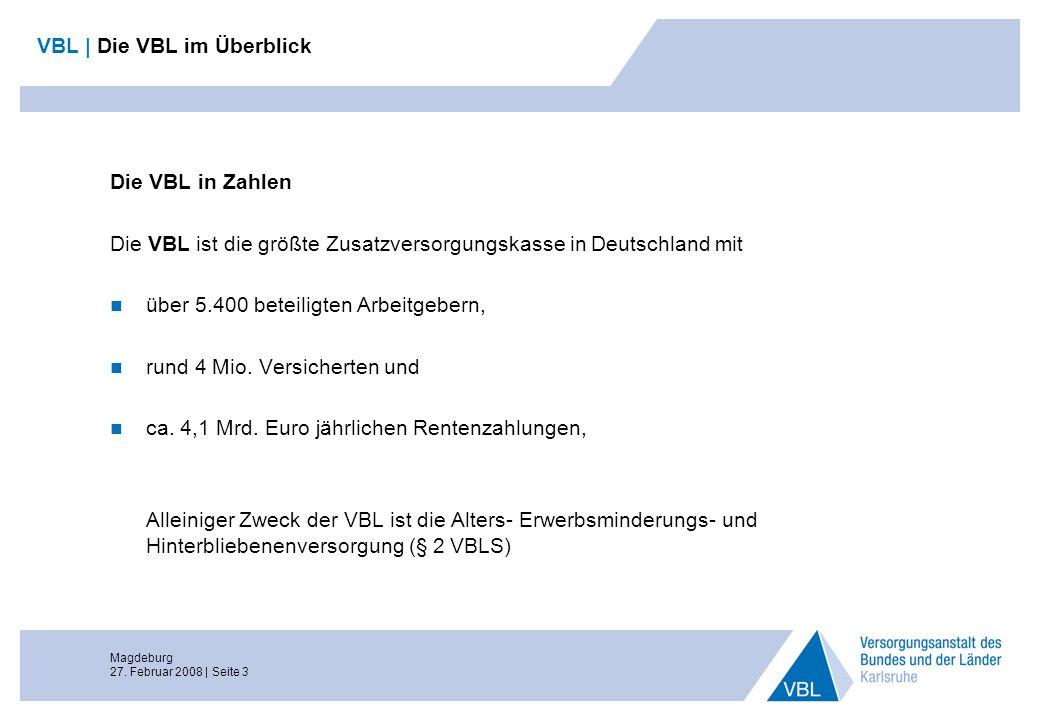 Magdeburg 27. Februar 2008 | Seite 3 Die VBL in Zahlen Die VBL ist die größte Zusatzversorgungskasse in Deutschland mit über 5.400 beteiligten Arbeitg