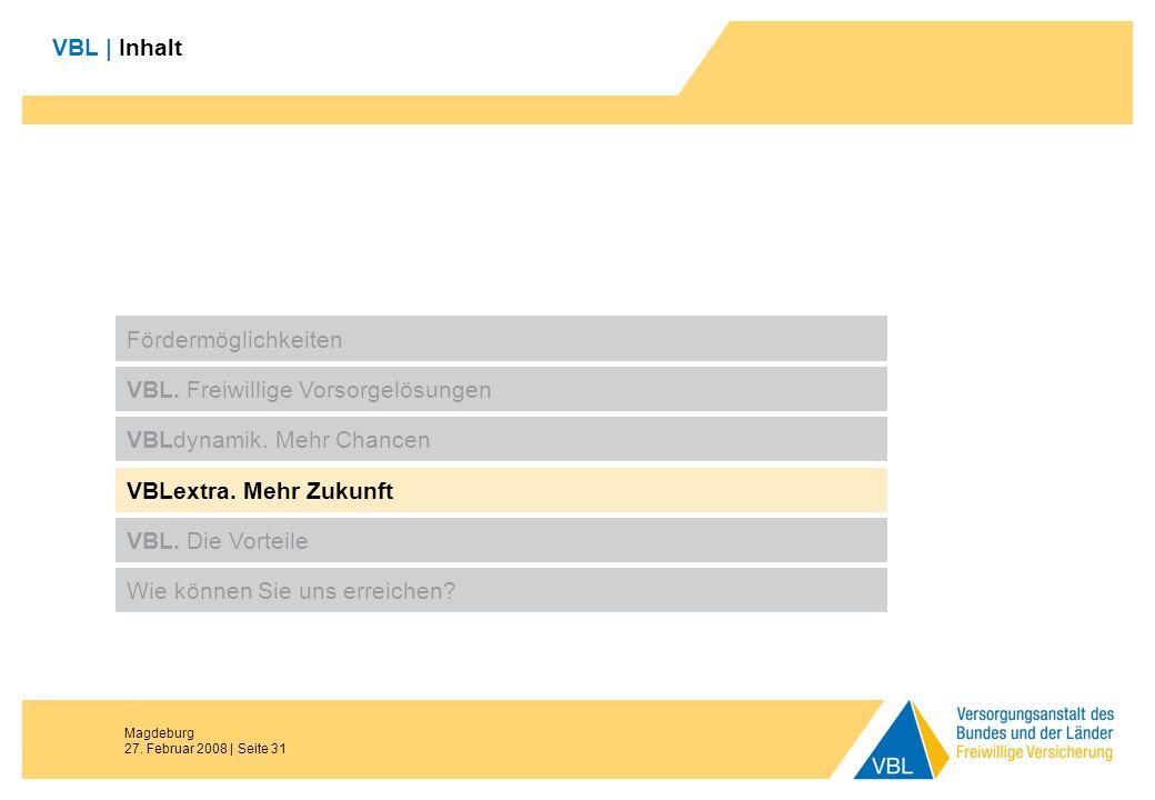 Magdeburg 27. Februar 2008 | Seite 31 VBL | Inhalt Fördermöglichkeiten VBL. Freiwillige Vorsorgelösungen VBLdynamik. Mehr Chancen VBL. Die Vorteile Wi