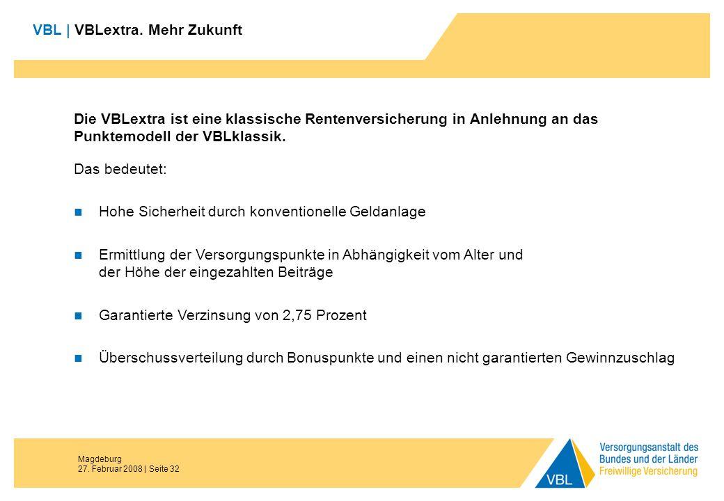 Magdeburg 27. Februar 2008 | Seite 32 VBL | VBLextra. Mehr Zukunft Die VBLextra ist eine klassische Rentenversicherung in Anlehnung an das Punktemodel