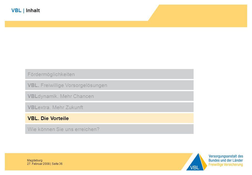 Magdeburg 27. Februar 2008 | Seite 36 VBL | Inhalt Fördermöglichkeiten VBL. Freiwillige Vorsorgelösungen VBLdynamik. Mehr Chancen VBL. Die Vorteile Wi