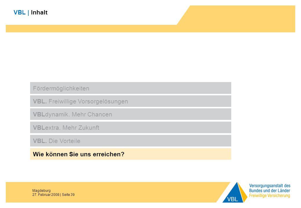 Magdeburg 27. Februar 2008 | Seite 39 VBL | Inhalt Fördermöglichkeiten VBL. Freiwillige Vorsorgelösungen VBLdynamik. Mehr Chancen VBL. Die Vorteile Wi