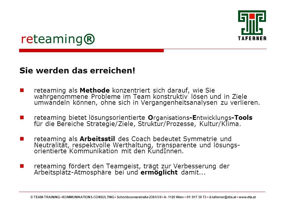 reteaming ® © TEAM-TRAINING KOMMUNIKATIONS-CONSULTING Schönbrunnerstraße 238/I/3/9 A- 1120 Wien 01/ 817 39 73 d.taferner@dta.at www.dta.at ermöglichen beitragen positiv verstärken Ziele setzen