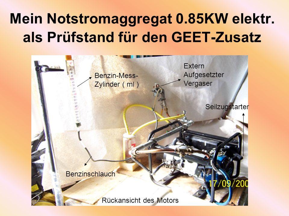Mein Notstromaggregat 0.85KW elektr. als Prüfstand für den GEET-Zusatz Benzin-Mess- Zylinder ( ml ) Benzinschlauch Extern Aufgesetzter Vergaser Seilzu