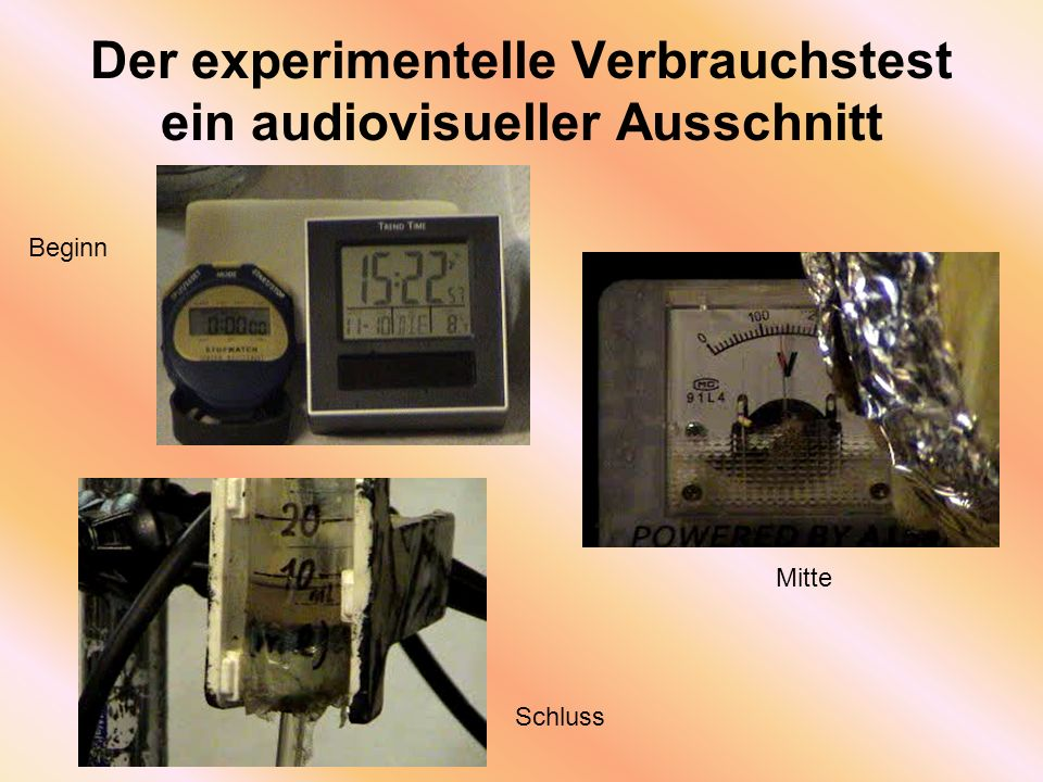 Der experimentelle Verbrauchstest ein audiovisueller Ausschnitt Beginn Mitte Schluss