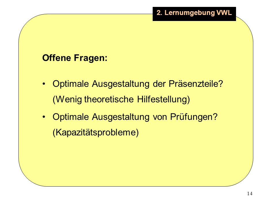 14 2. Lernumgebung VWL Offene Fragen: Optimale Ausgestaltung der Präsenzteile.