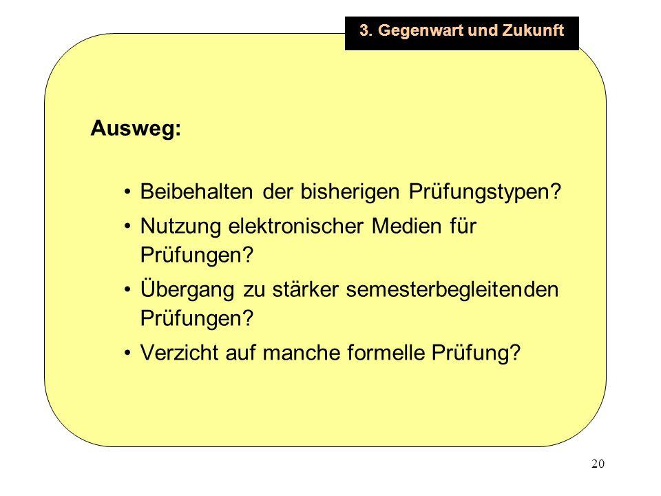 20 3. Gegenwart und Zukunft Ausweg: Beibehalten der bisherigen Prüfungstypen.