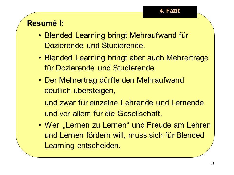 25 4. Fazit Resumé I: Blended Learning bringt Mehraufwand für Dozierende und Studierende.