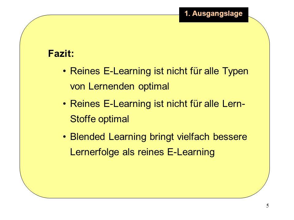 5 1. Ausgangslage Fazit: Reines E-Learning ist nicht für alle Typen von Lernenden optimal Reines E-Learning ist nicht für alle Lern- Stoffe optimal Bl