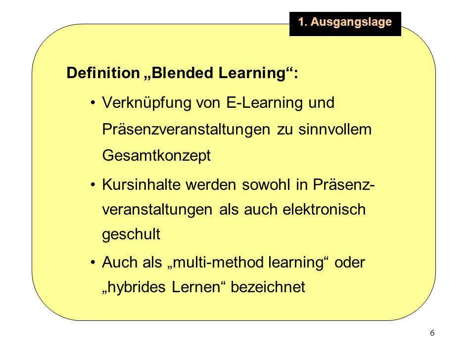 6 1. Ausgangslage Definition Blended Learning: Verknüpfung von E-Learning und Präsenzveranstaltungen zu sinnvollem Gesamtkonzept Kursinhalte werden so