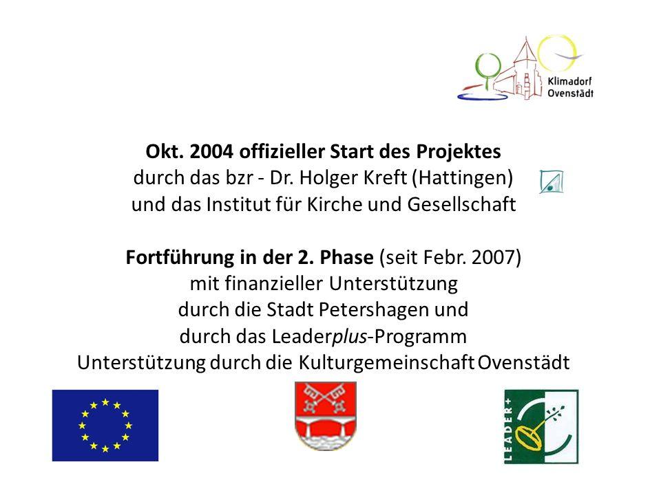 Okt. 2004 offizieller Start des Projektes durch das bzr - Dr. Holger Kreft (Hattingen) und das Institut für Kirche und Gesellschaft Fortführung in der
