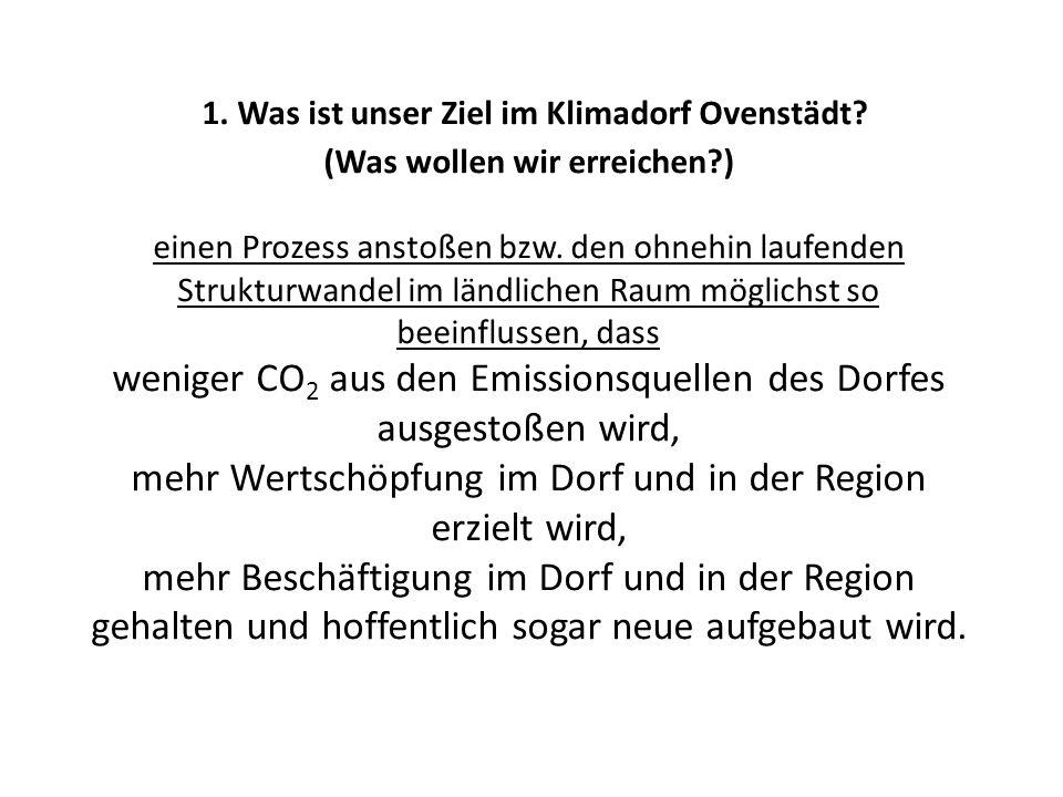 1. Was ist unser Ziel im Klimadorf Ovenstädt? (Was wollen wir erreichen?) einen Prozess anstoßen bzw. den ohnehin laufenden Strukturwandel im ländlich