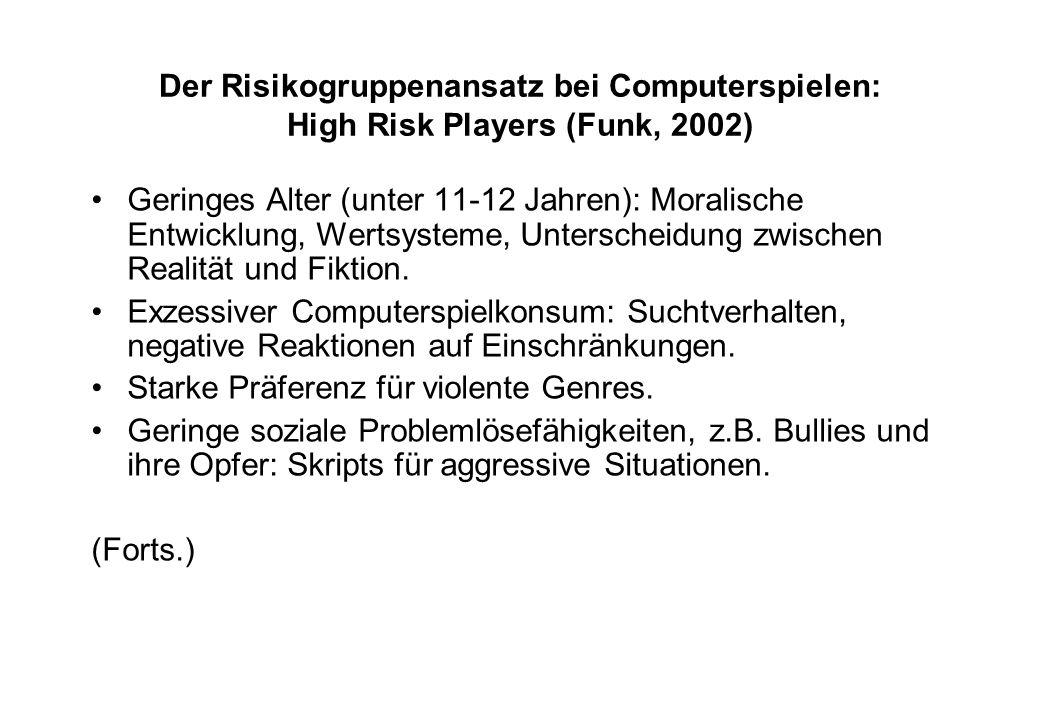 Der Risikogruppenansatz bei Computerspielen: High Risk Players (Funk, 2002) Geringes Alter (unter 11-12 Jahren): Moralische Entwicklung, Wertsysteme,