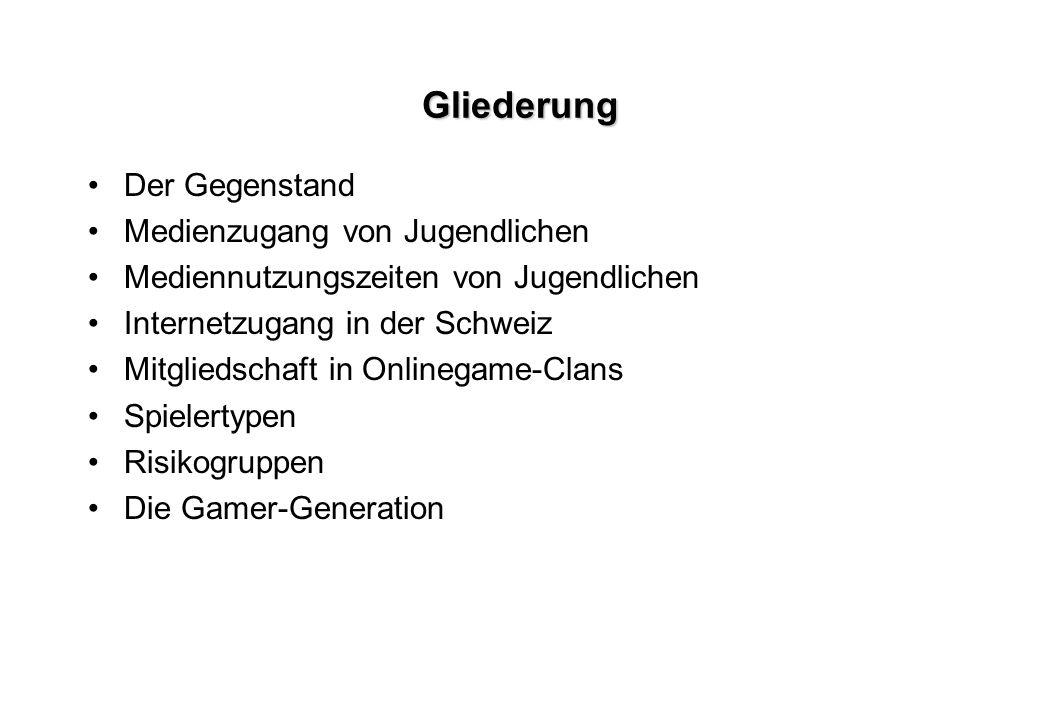 Gliederung Der Gegenstand Medienzugang von Jugendlichen Mediennutzungszeiten von Jugendlichen Internetzugang in der Schweiz Mitgliedschaft in Onlinega