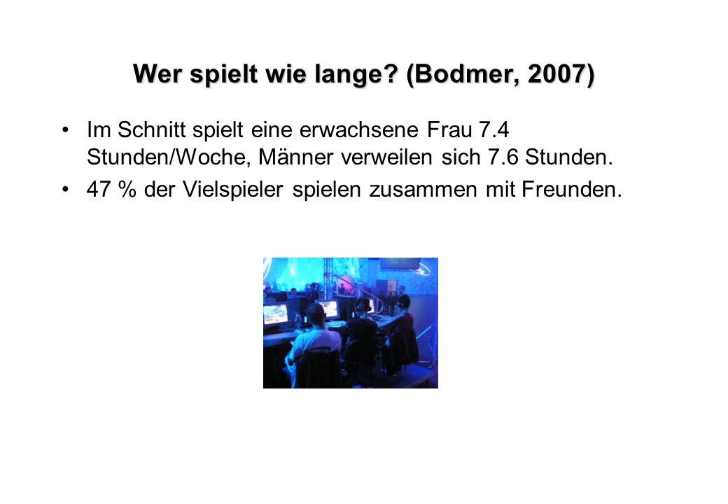 Wer spielt wie lange? (Bodmer, 2007) Im Schnitt spielt eine erwachsene Frau 7.4 Stunden/Woche, Männer verweilen sich 7.6 Stunden. 47 % der Vielspieler