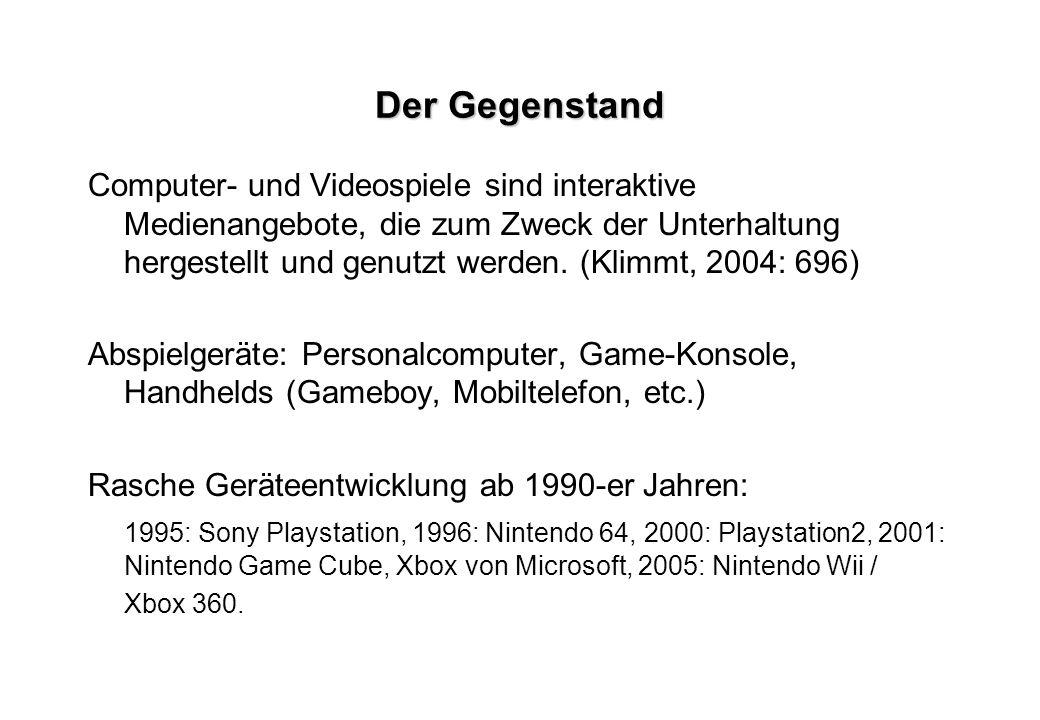 Der Gegenstand Computer- und Videospiele sind interaktive Medienangebote, die zum Zweck der Unterhaltung hergestellt und genutzt werden. (Klimmt, 2004