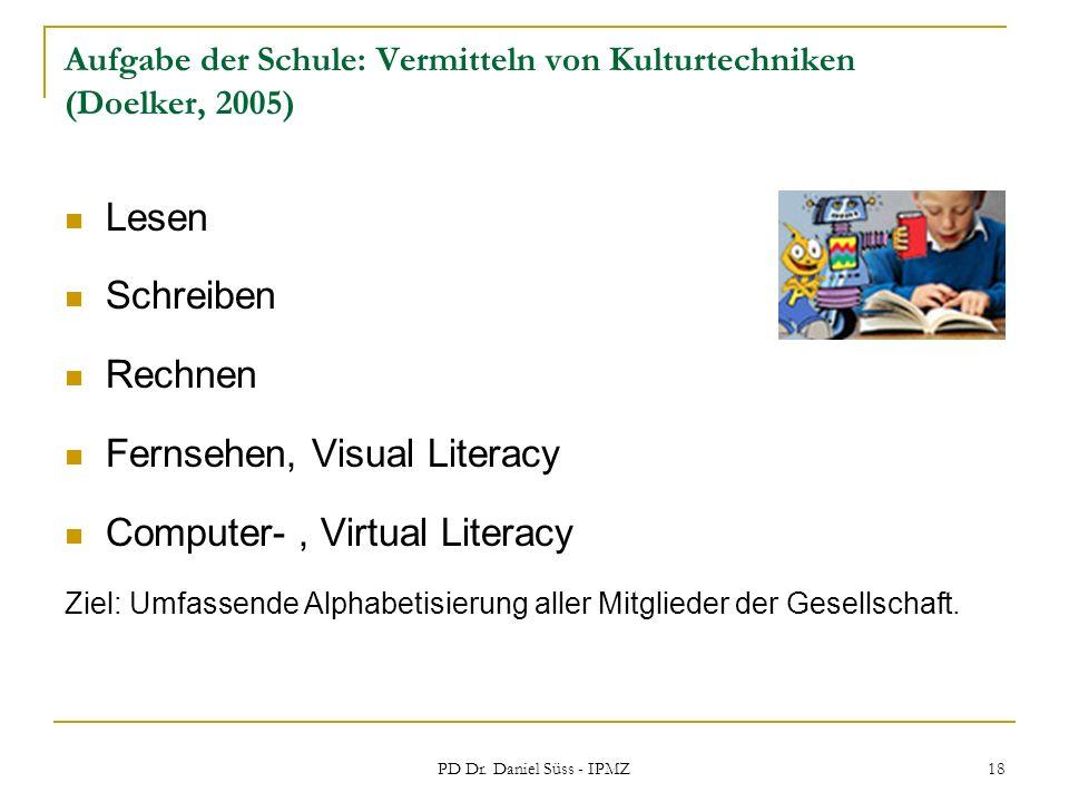 PD Dr. Daniel Süss - IPMZ 18 Aufgabe der Schule: Vermitteln von Kulturtechniken (Doelker, 2005) Lesen Schreiben Rechnen Fernsehen, Visual Literacy Com