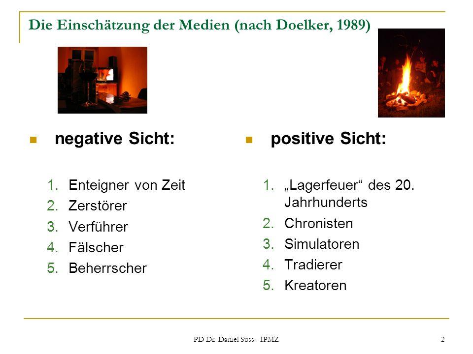 PD Dr. Daniel Süss - IPMZ 2 Die Einschätzung der Medien (nach Doelker, 1989) negative Sicht: 1.Enteigner von Zeit 2.Zerstörer 3.Verführer 4.Fälscher 5