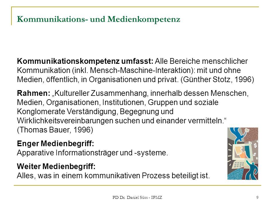 PD Dr. Daniel Süss - IPMZ 9 Kommunikations- und Medienkompetenz Kommunikationskompetenz umfasst: Alle Bereiche menschlicher Kommunikation (inkl. Mensc