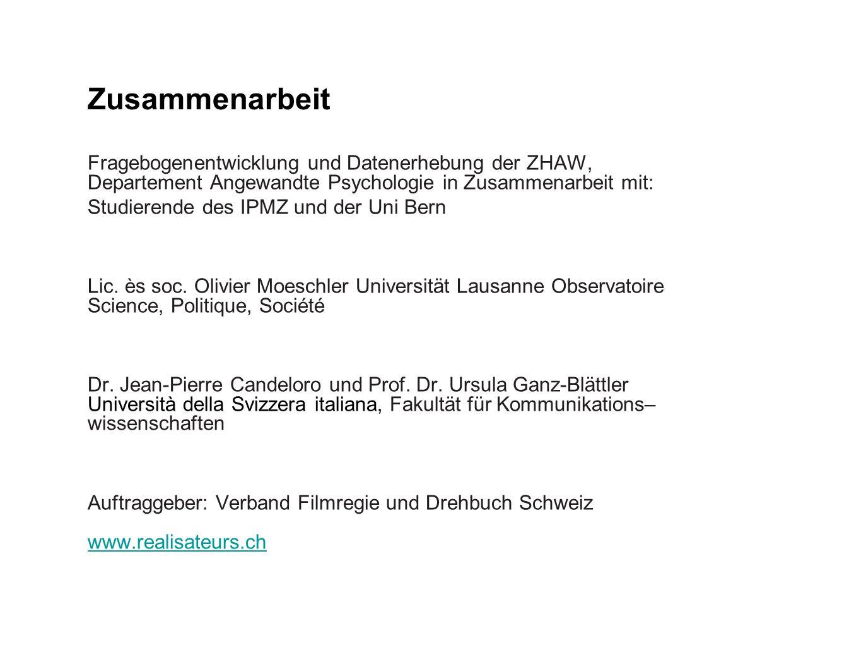 Fragebogenentwicklung und Datenerhebung der ZHAW, Departement Angewandte Psychologie in Zusammenarbeit mit: Studierende des IPMZ und der Uni Bern Lic.