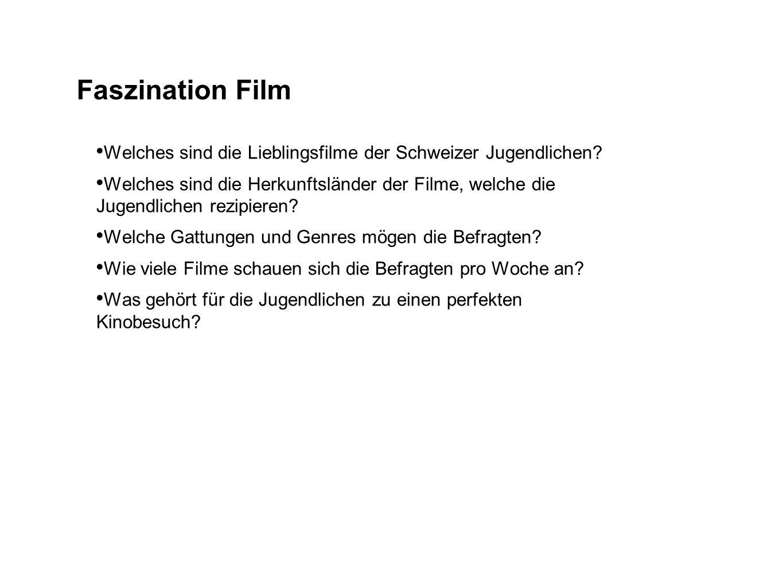 Faszination Film Welches sind die Lieblingsfilme der Schweizer Jugendlichen? Welches sind die Herkunftsländer der Filme, welche die Jugendlichen rezip