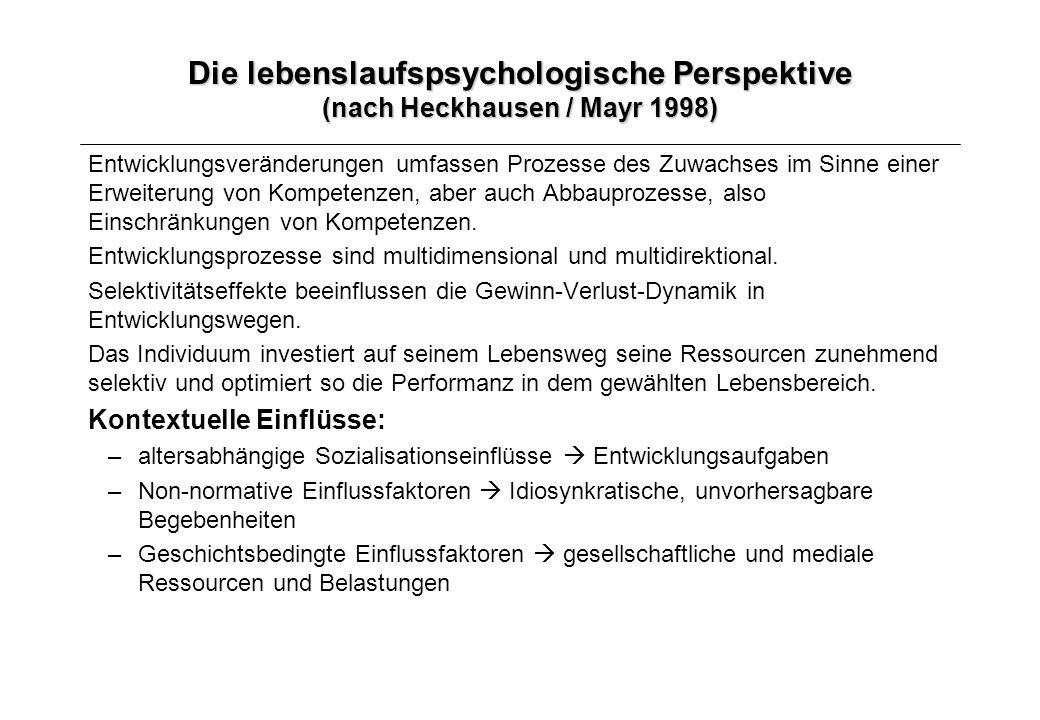 Die lebenslaufspsychologische Perspektive (nach Heckhausen / Mayr 1998) Entwicklungsveränderungen umfassen Prozesse des Zuwachses im Sinne einer Erwei