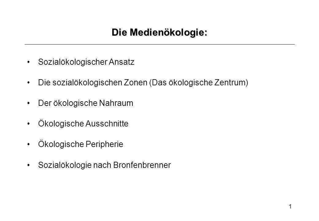 1 Die Medienökologie: Sozialökologischer Ansatz Die sozialökologischen Zonen (Das ökologische Zentrum) Der ökologische Nahraum Ökologische Ausschnitte