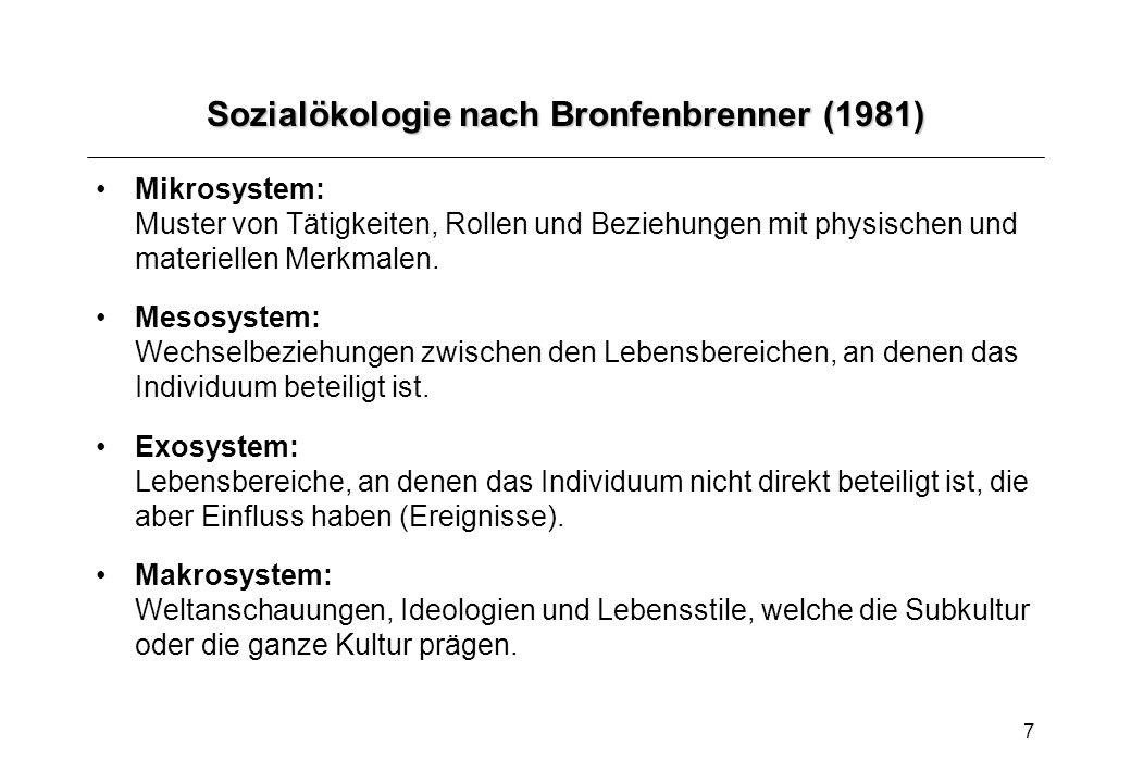 7 Sozialökologie nach Bronfenbrenner (1981) Mikrosystem: Muster von Tätigkeiten, Rollen und Beziehungen mit physischen und materiellen Merkmalen. Meso