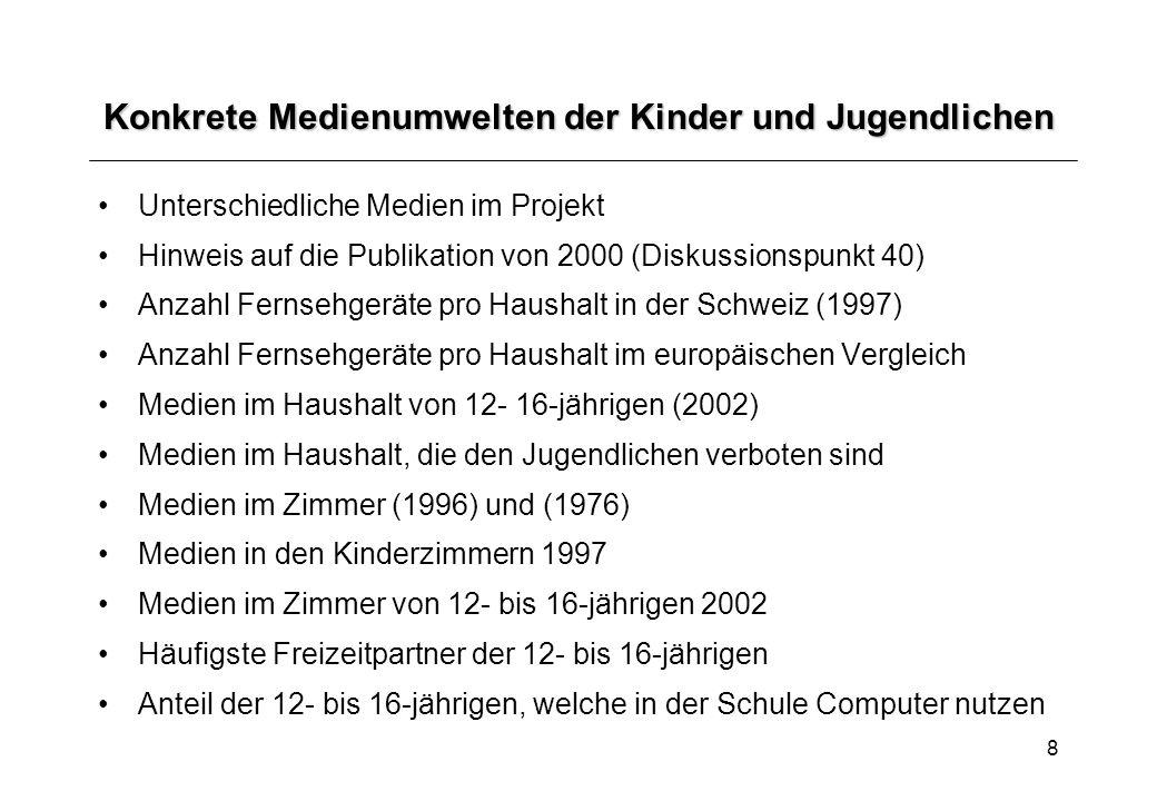 8 Konkrete Medienumwelten der Kinder und Jugendlichen Unterschiedliche Medien im Projekt Hinweis auf die Publikation von 2000 (Diskussionspunkt 40) An