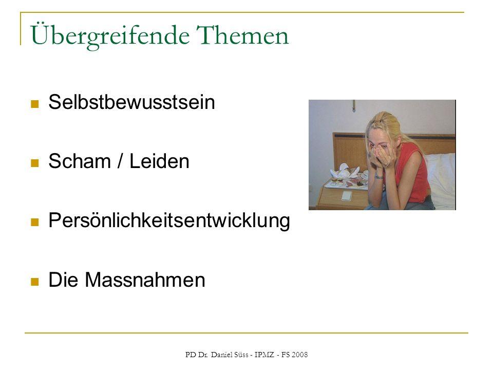 PD Dr. Daniel Süss - IPMZ - FS 2008 Übergreifende Themen Selbstbewusstsein Scham / Leiden Persönlichkeitsentwicklung Die Massnahmen