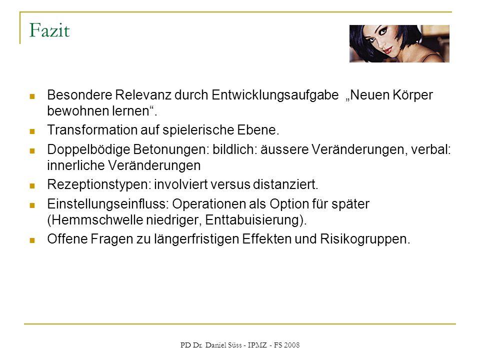 PD Dr. Daniel Süss - IPMZ - FS 2008 Fazit Besondere Relevanz durch Entwicklungsaufgabe Neuen Körper bewohnen lernen. Transformation auf spielerische E