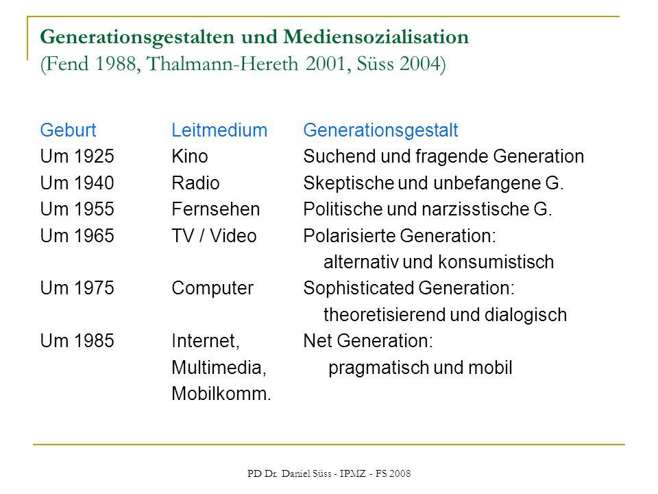 PD Dr. Daniel Süss - IPMZ - FS 2008 Generationsgestalten und Mediensozialisation (Fend 1988, Thalmann-Hereth 2001, Süss 2004) GeburtLeitmediumGenerati