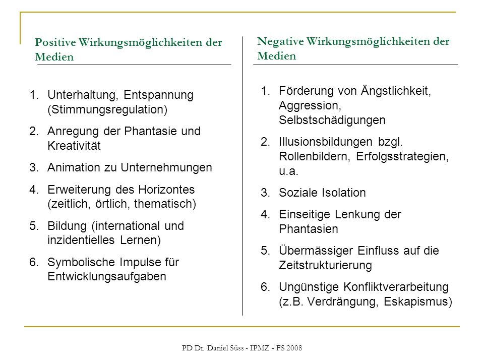 PD Dr. Daniel Süss - IPMZ - FS 2008 Positive Wirkungsmöglichkeiten der Medien 1.Unterhaltung, Entspannung (Stimmungsregulation) 2.Anregung der Phantas