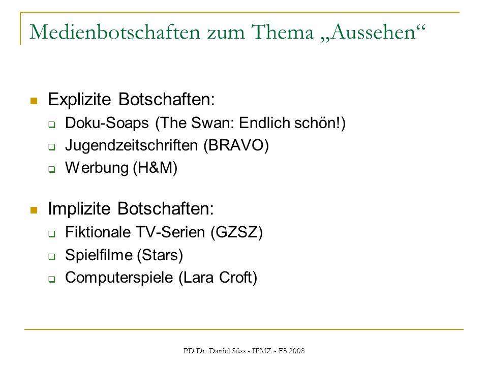 PD Dr. Daniel Süss - IPMZ - FS 2008 Medienbotschaften zum Thema Aussehen Explizite Botschaften: Doku-Soaps (The Swan: Endlich schön!) Jugendzeitschrif
