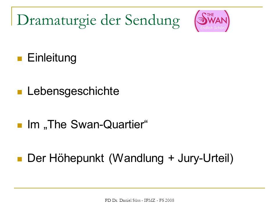 PD Dr. Daniel Süss - IPMZ - FS 2008 Dramaturgie der Sendung Einleitung Lebensgeschichte Im The Swan-Quartier Der Höhepunkt (Wandlung + Jury-Urteil)